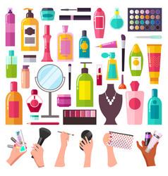 Set woman makeup accessories personal hygiene vector