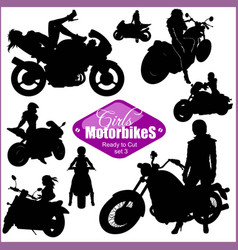 silhouettes - womans and motorbikes - set vector image