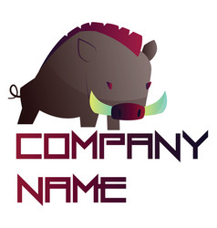 simple logo design a wild boar with blank vector image