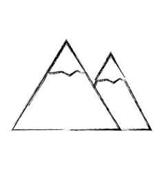 Sketch draw mountain cartoon vector
