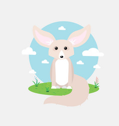 Small cute fennec with big ears vector
