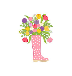 Spring flowers in boot vector