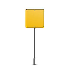 Square yellow road signboard template isolated on vector