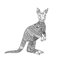 Stylized kangaroo isolated on white background vector