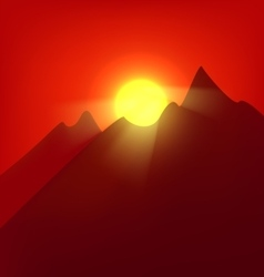 Sunset at the mountains vector