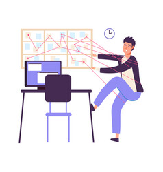 time management man organized work inefficiency vector image