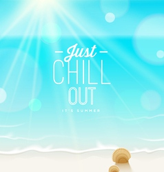 Tranquil scene - sea shore and type design vector image