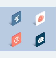 Usd exchange idea and clock icons feedback sign vector