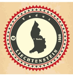 Vintage label-sticker cards of Liechtenstein vector image