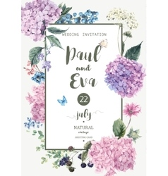 Wedding invitation with Hydrangea vector