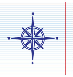 wind rose sign navy line icon on notebook vector image