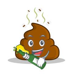 With beer poop emoticon character cartoon vector