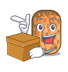 With box fried tempeh in bowl character wooden vector