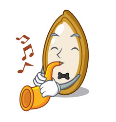 With trumpet fresh pumpkin seeds on plate cartoon vector