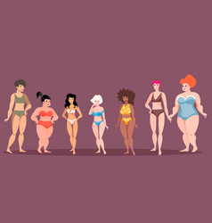 Women of different height and figure type vector