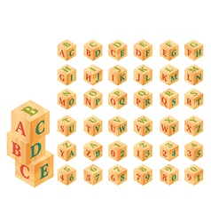 Wooden blocks with letters and numbers alphabet vector