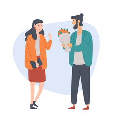 young man gives a flovers to his girlfriend vector image