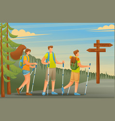 Young people actively nordic walking flat 2d vector