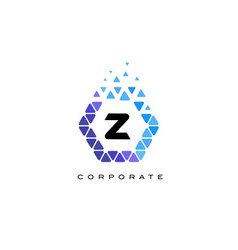 z blue hexagon letter logo with triangles vector image