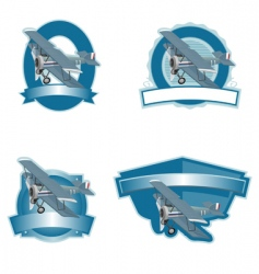 biplane label vector image