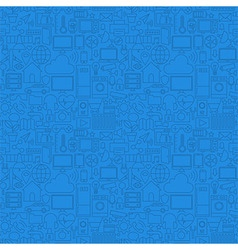 Blue thin line internet of things seamless pattern vector