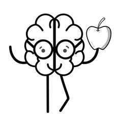 Line icon adorable kawaii brain eating apple vector