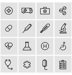 line medical icon set vector image vector image