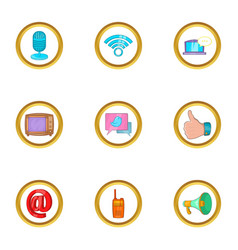 modern communication icon set cartoon style vector image
