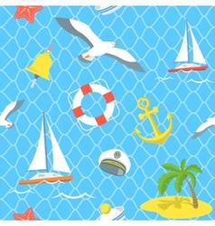 Nautical Sea Icons seamless pattern vector image