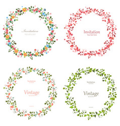 romantic floral collection of wreaths for your vector image vector image