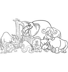 african safari animals cartoon for coloring vector image vector image