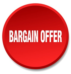 bargain offer red round flat isolated push button vector image vector image