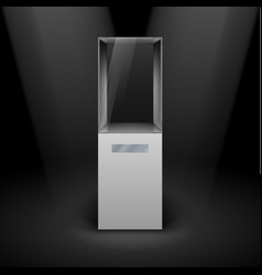 empty glass showcase for presentation on black vector image