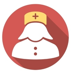 Nurse Flat Round Icon with Long Shadow vector image