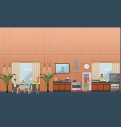 set of kitchen flat style design elements vector image