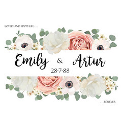 floral wedding invitation invite save the date vector image vector image