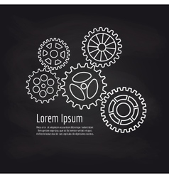 Gears line icons on blackboard background vector image