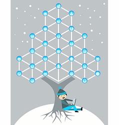 Global social media network tree vector image vector image