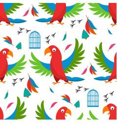 seamless pattern parrot bird cell vector image vector image
