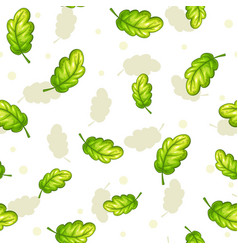 seamless pattern with falling green oak leaves vector image