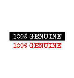 100 genuine rubber stamp badge with typewriter vector image