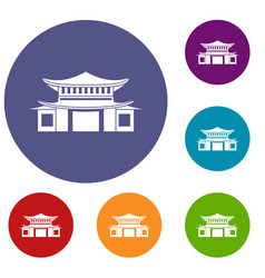 chinese icons set vector image vector image