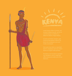 color armed african warrior vector image