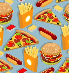 Fast food seamless pattern Hot dog background vector image vector image