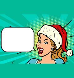 positive santa girl vector image