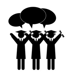 silhouette group people graduated with dialog vector image vector image