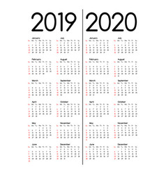 2019 and 2020 calendars vector image