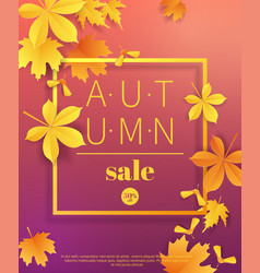 autumn sale vintage typography poster with gold vector image