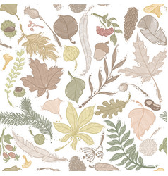 Autumn seamless pattern set of colored leaves vector
