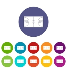 Basketball field set icons vector image